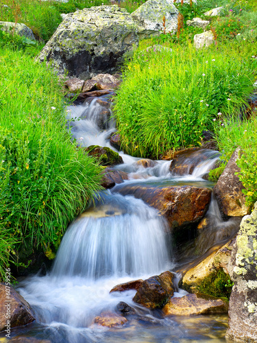 Waterfall among grass and stones. - 60759526