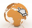 Internet world wide web concept. Hand cursor and earth globe