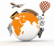 Types of transport on a globe. Concept of international tourism