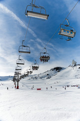 Chairlift in winter resort