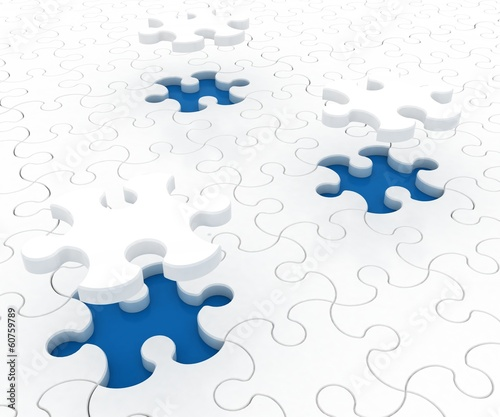 White puzzle on blue background. Isolated 3D image