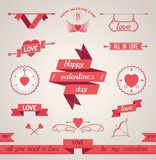 Set of design elements for Valentine's Day. Vector eps10