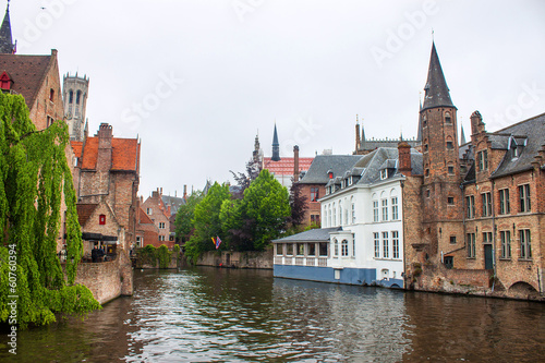 Houses along the canals of Bruges, Belgium
