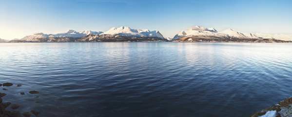 Hi-res panorama of Norwegian fjords into the sea. 1/2.5 Ratio