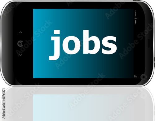 smartphone with word jobs on display, business concept