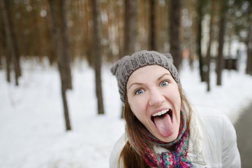 Young funny woman being silly