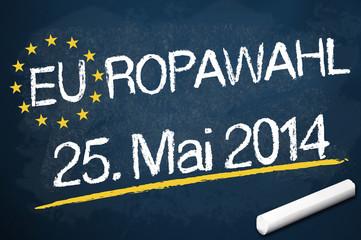 Kreidetafel mit EUROWAHL 2014