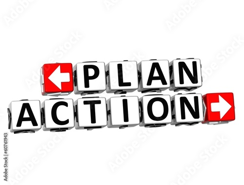 3D Plan Action Button Click Here Block Text