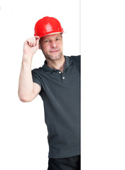 Worker man in red helmet isolated on white background