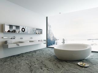 Luxury bathroom interior with bathtub and stone floor