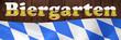 Schriftzug Biergarten auf Holz mit Bayernflagge