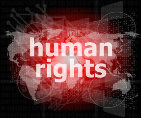 Law concept: words human rights on business digital background