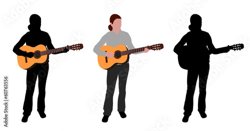 woman playing acoustic guitar - vector