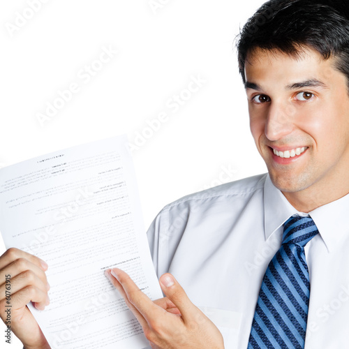 Businessman showing document or contract, isolated