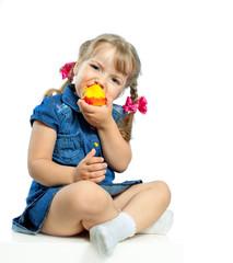little girl eating apples