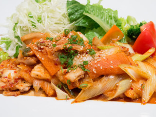 Spicy stir-fried pork with vegetables