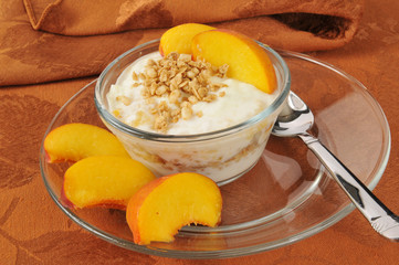 Greek yogurt with peaches