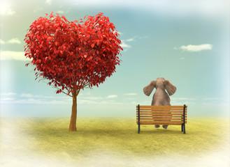 Elefante y Árbol En Forma De Corazón