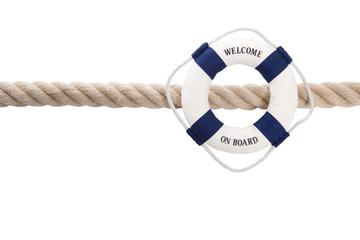 Welcome on Board - Maritimer Hintergrund mit Rettungsring