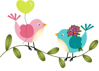 Lovely Birds with Balloon and Flowers