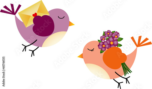 Lovely Birds with Flowers and Envelope