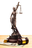 gavel , lady of justice and money