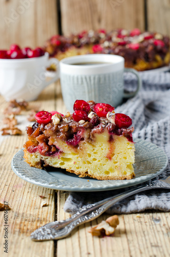 Cake with cranberries and walnuts