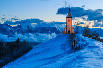 St. Primož church near Jamnik at dawn, Slovenia