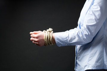 Businesswoman with Tied Up Hands