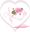 Heart with pink flower. Decorative element to the Valentines day