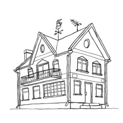Vector sketch of modern house