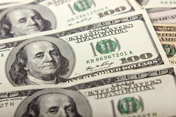One hundred dollar bill, close up,money background