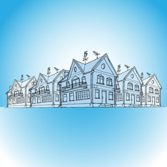 Vector colored sketch of modern houses