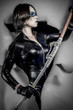 Blade, Girl with katana sword. dressed in black latex, comic sty