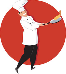 Chef flipping an omelette on a frying pan