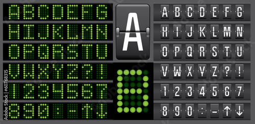 Scoreboard mechanical and electronic panel letters alphabet - 60768315
