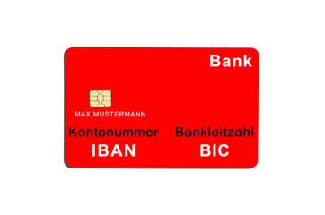 Rote Bankkarte: IBAN, BIC
