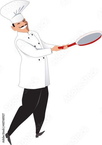 Chef with a frying pan isolated on white