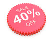 40 Percent OFF Discount Label on white background