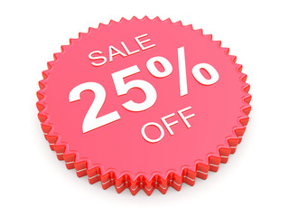 25 Percent OFF Discount Label on white background