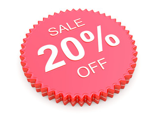 20 Percent OFF Discount Label on white background