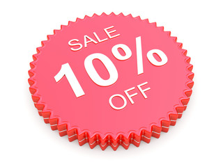 10 Percent OFF Discount Label on white background