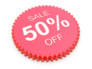 50 Percent OFF Discount Label on white background