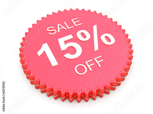 15 Percent OFF Discount Label on white background