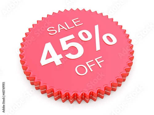 45 Percent OFF Discount Label on white background