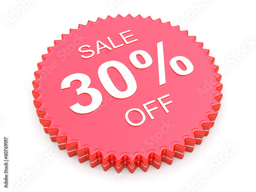 30 Percent OFF Discount Label on white background