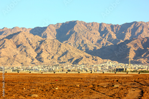 Mountains in the desert on blue sky background
