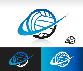Volleyball icon with swoosh graphic element