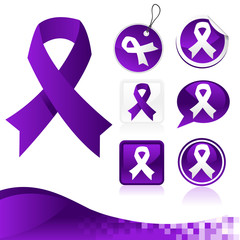 Set of purple awareness ribbons for various causes