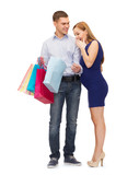 happy family expecting child with shopping bags